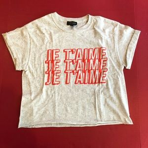 Je T'aime Crop Top SPELLOUT I Love GRAY Puff Paint